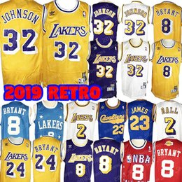 c0feba2c329 retro 32 Johnson Laker jersey Kobe 24 Bryant 8 LeBron 23 James Lonzo 2 Ball  Brandon 14 Ingram Kyle 0 Kuzma Los Angeles