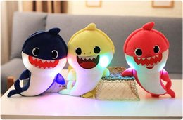 $enCountryForm.capitalKeyWord Australia - Led Music Baby Shark Bag Kids one shoulder School Bags Lighting Singing Plush Toys Fashion Shinning Messenger Stuffed bags EMS FJ492