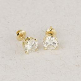 $enCountryForm.capitalKeyWord Australia - Genuine14k 585 Yellow Gold Screw Back 1.0carat Ctw Test Positive Lab Grown Moissanite Diamond Earrings For Women Y19052401
