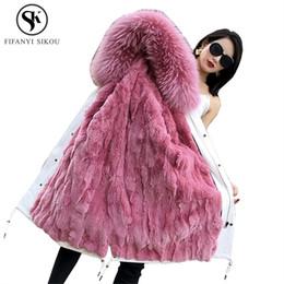 dog rabbits 2019 - Fur coat Rex Rabbit Fur Real Raccoon Dog collar Hooded Coats Women Parka real Liner Detachable Winter Long Parkas Woman