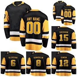 304d9622d 2018 New Brand Adults Pittsburgh 6 Jamie Oleksiak 8 Brian Dumoulin 12  Dominik Simon 15 Riley Sheahan Black Ice Hockey Jerseys Accept Custom