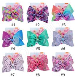 $enCountryForm.capitalKeyWord Australia - 8 inch JOJO bow girl hair bows Flowers Rainbow Mermaid Unicorn Design Girl Clippers Girls Hair Clips JOJO SIWA Hair Accessory