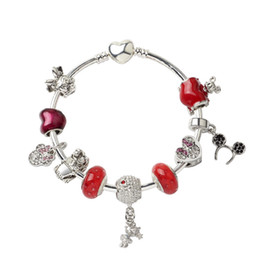Discount valentines sweets - 18 19 20CM Charm Apple Accessories Beads Bracelet sweet Mouse Pendant 925 Silver Bangle DIY Wedding Jewelry as a Valenti