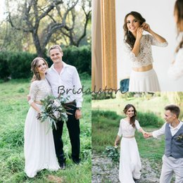 Discount chiffon petite beach wedding dresses - Western Country Two Pieces Wedding Dresses See Through Top Lace Skirt Chiffon Boho Wedding Dresses For Petite Bride Shor