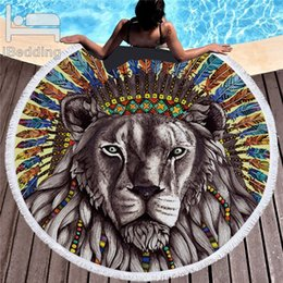kids towels compress NZ - Bohemia Large Lion Round Beach Towel For Adult Kids Yoga Mat Microfiber With Tassels Summer Thick 150cm Tiger Animal Beach Towel