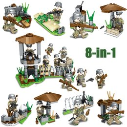 Discount bricks toys army - WW2 World War II German Army Iron Front Battle Military Building Block Brick Soldiers Toy Assembly Figure