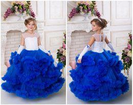 $enCountryForm.capitalKeyWord NZ - Navy Blue and White Flower Girl Dress For Birthday Wedding Party Holiday Girl Tutu Dress