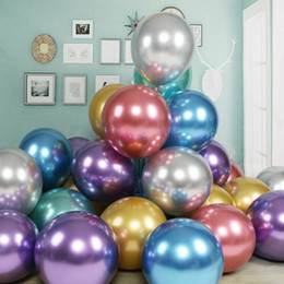 Discount metallic balloons Celebration Anniversaries Metallic Latex 50Pcs Pack Helium Balloons Birthday Party Decorate Multi colors Free Shipping