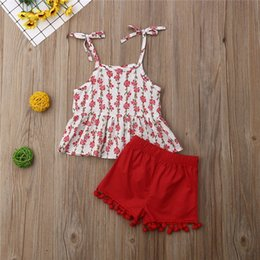 Wholesale 6M T Newborn Toddler Baby Girl Floral Vest Stripes Sling Skirts Shorts Pants Tassel Outfits Clothes Set