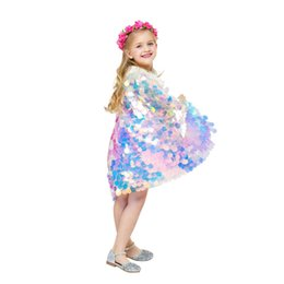 Christmas Movie Costumes UK - 2019 Mermaid Cape Glittering Baby Girls Princess Cloak Colorful Sequins Boutique New Halloween Party Cape Costume cosplay props C21