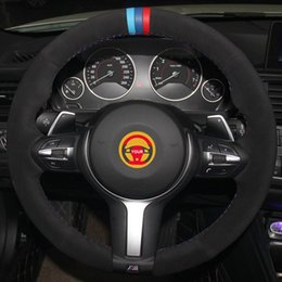 light steering NZ - Black Suede Light Blue Blue Red Marker Car Steering Wheel Cover for F87 M2 F80 M3 F82 M4 M5 F12 F13 M6 F85 X5 M F86 X6 M F33