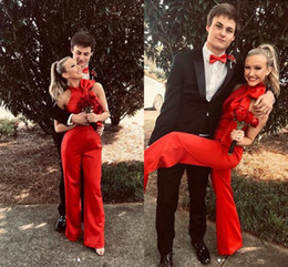 $enCountryForm.capitalKeyWord NZ - Red Jumpsuit in Prom 2020 High Neck Bow Custom Make Simple Stain Full length Girls Homecoming Junior Evening Pant Suit Dress