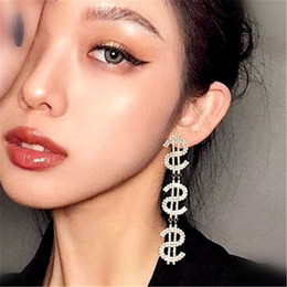 dollar jewelry 2019 - Design US Dollar Earring Jewelry Crystal Drop Dangle Earrings For Women Luxury Money Sign $ Rhinestone Earrings Accessor