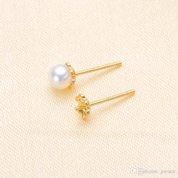 $enCountryForm.capitalKeyWord Australia - 10 PCS Wholesales S925 Silver Pearl Ear Stud Earrings Empty Support Pearl Fashion Design for Beauty Jewellery