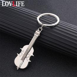 $enCountryForm.capitalKeyWord Australia - Mini Violin Keychain Charm Music Keyring Creative Metal Key Ring Silver Plated Musical Note Symbol Pendant Key Chains Students