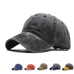 youth ball caps 2020 - Baseball Cap Men Women Washed Distressed Baseball Cap Twill Adjustable Dad Hat Solid Youth Dad Ball Hat cheap youth ball