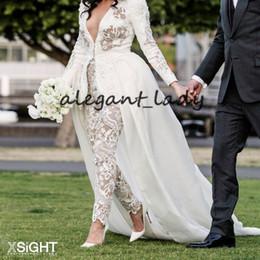 Designer black jumpsuits online shopping - 2020 Lace Applique Brides Outfit Wedding Jumpsuit with Train Luxury Designer Long Sleeve Peplum Garden Outdoor Bride Wedding Gown