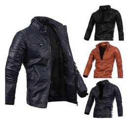 Wholesale mens long leather motorcycle jacket for sale - Group buy Mens Motorcycle Leather Jackets Male Slim Coats With Zipper Man Outerwear Stand Jackets with Colors Asian Size S XL