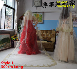 handmade veils UK - New Europe Luxury Noble Handmade Custom Champagne Color OneLayer Fingertip Cathedral Length Lace AppliqueEdge Wedding veiL Bridal veils