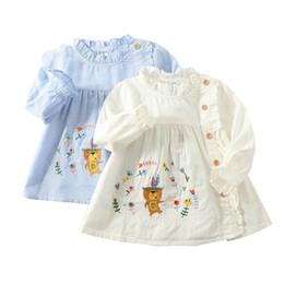 Cotton turtleneCks kids online shopping - Kids Girl Shirt Children Lace Collar Shirt Cartoon Flower Little Bear Embroidery Trumpet Long Sleeve Stripe