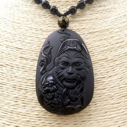 monkey carvings Australia - Drop Shipping Fine Carving Natural Obsidian WUKONG MONKEY Necklace Pendant Men's Pendant With Chain