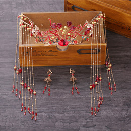 chinese hairpins Australia - Chinese traditional national marriage vintage red flower headdress hair jewelry bride wedding hairpin festival gift