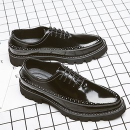 Discount leather low cut dress - new arival Enaland style Brogue palodge leather shoes for men balck color dress shoes for youth size 38-44