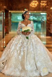 Wholesale Luxury Arabic Sparkly Sequined Ball Gown Wedding Dress Vintage Dubai Long Sleeves D Flowers Lace Appliqued Bridal Gown With Court Train