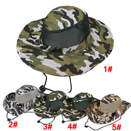 f0b3ee53b4aee Boonie Hat Sport Camouflage Jungle Cap Adults Men Women Cowboy Wide Brim  Hats For Fishing Packable Bucket Hat 150Pcs