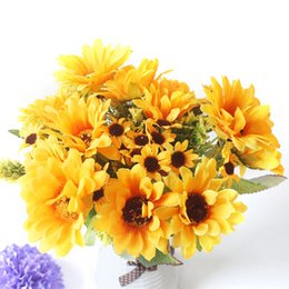 $enCountryForm.capitalKeyWord Australia - artificial silk flowers sunflower for home decoration yellow big fake fabric flower heads wedding bouquet small flowers decor