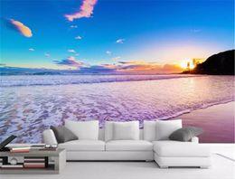digital photo background custom 2019 - Custom Photo 3d Wallpape HD Digital Print Wallpaper Seaside Sunset Beautiful Scene Indoor TV Background Wall Decoration