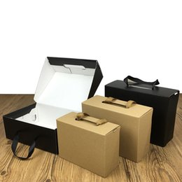 ShoeS paper box online shopping - Environmentally Friendly Kraft Paper Gift Box Black Brown Foldable Carton Packaging Box Suitable For Clothes Shoes LZ1940