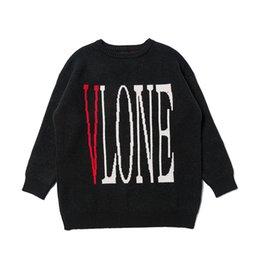 Vlone Мужские свитера Мужчины Женщины высокого качества вокруг шеи длинным рукавом свитера мужские вскользь фуфайки Черный Размер M-XL на Распродаже