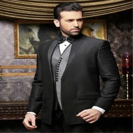 Beige Slim Suits For Men Australia - Latest Coat Pants Designs Black Wedding Suit for Men Retro Italian Slim Fit Costumes (Jacket +Pants+Vest) 3 Piece Tuxedos