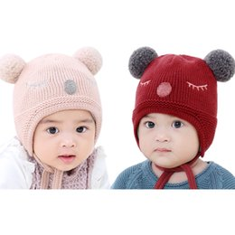 04c2ab931cf Baby Knitted Warm Cotton Beanie Hat For Toddler Baby Boy girl Winter Warm  Knit Beanie Hat Winter infant Hats Fur Ball Cap