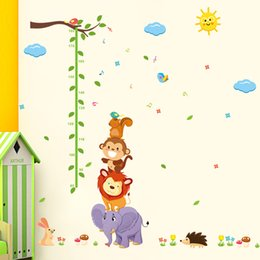 tree growth sticker Australia - animal Monky Bird Lion sky sun tree baby child height measure growth chart home decal wall sticker kid room nursery kindergarten