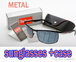 Wholesale Sun Glasses Box Australia - summer men Beach METALsunglasses man cycling glasses women Bicycle Glass driving Sun glasses with case box 4colors cheap price free shipping