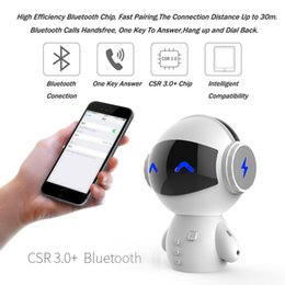 Loudspeaker Cartoon Australia - Bluetooth Wireless Cartoon Robot Portable Mini Bluetooth Speaker Stereo Music Loudspeakers Power Bank Player Receive with retail package car