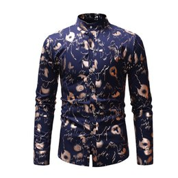 stamp shirt men 2019 - CYXZFTROFL High Quality Men Shirt Brand Fashion Casual Slim Hot Stamping Long Sleeve Shirt Men Business Social Top Cloth
