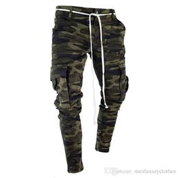Wholesale zipper style cotton design for sale – custom Big Pockets Striped Zipper Design Slim Jean Pants Mens Camouflage Pencil Designer Jeans Fashion