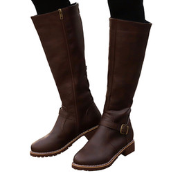 $enCountryForm.capitalKeyWord UK - YOUYEDIAN Vintage Women Square Heel Zipper Leather Boots Keep Warm Boots Round Toe Shoes ankle para mulheres salto alt#G35