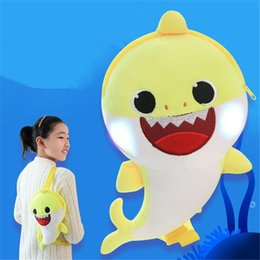 $enCountryForm.capitalKeyWord Australia - Led Music Baby Shark Bag Kids one shoulder School Bags Lighting Singing Plush Toys Fashion Shinning Messenger Stuffed bags FJ492