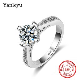 $enCountryForm.capitalKeyWord NZ - Yanleyu Wholesale Price Classic 1 Carat Round CZ Diamant Wedding Rings for Women Pure Solid 925 Silver Ring Stamped S925 PR167
