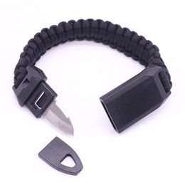 whistle bracelets UK - Outdoor Survival Bracelet Wristband for Men Braided Paracord Camping Hiking Removable Knife Whistle Rescue Emergency Tools Kit