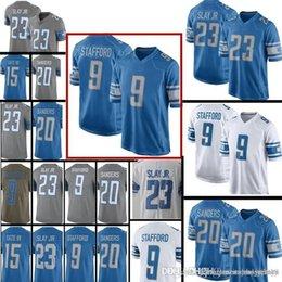 fe6a84729 Detroit Lions Jersey 9 Matthew Stafford 23 Darius Slay 20 Barry Sanders 15 Golden  Tate III Stitched Jerseys S-XXXL Free Shipping