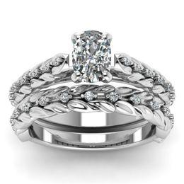 $enCountryForm.capitalKeyWord Australia - 2-in-1 Womens Flower Lucky Vine Leaf Cocktail Jewelry Diamond Engagement Wedding Band Heart Rings Bride Ring Set