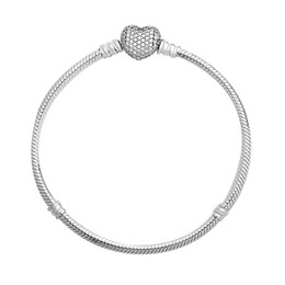 China Real S925 Sterling Silver heart bangle bracelet Snake Bone Chain bracelet Moments with Love Button S925 Silver Bracelet With logo bag suppliers