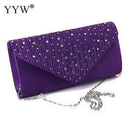 $enCountryForm.capitalKeyWord Australia - Diamond Baguette Clutch Bag for Women Evening Party Bag Purple Women's Satin Clutches Handbags Lady's Shoulder