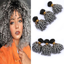 Black And Grey Hair Australia - #1B Grey Ombre Funmi Curly Human Hair Extensions Bundles Black and Gray Ombre Bouncy Romance Curly Virgin Hair Weave Wefts Extensions