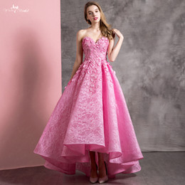 Hot Teens Dresses NZ - 2019 New Hot Pink Lace High Low Cocktail Party Dresses Sweetheart 3d Flowers Teens Girls Prom Dress Party Dress New Arrival
